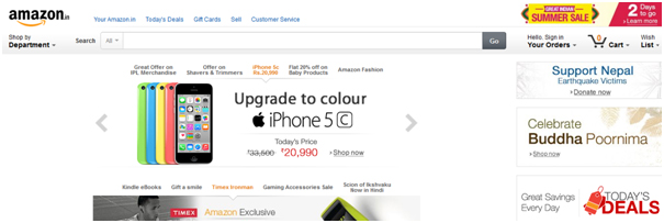 Amazon India's localized website focuses on mobile phones.