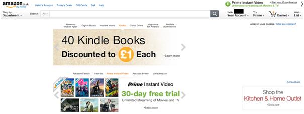 Amazon UK's localized websites focus on eBooks and Kindles.