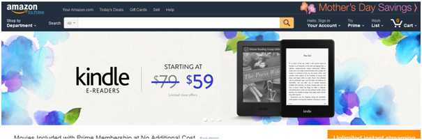 Amazon USA's localized websites focus on eBooks and Kindles.